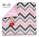 Pink and Grey Multi Chevron Double Minky Binky Blanket
